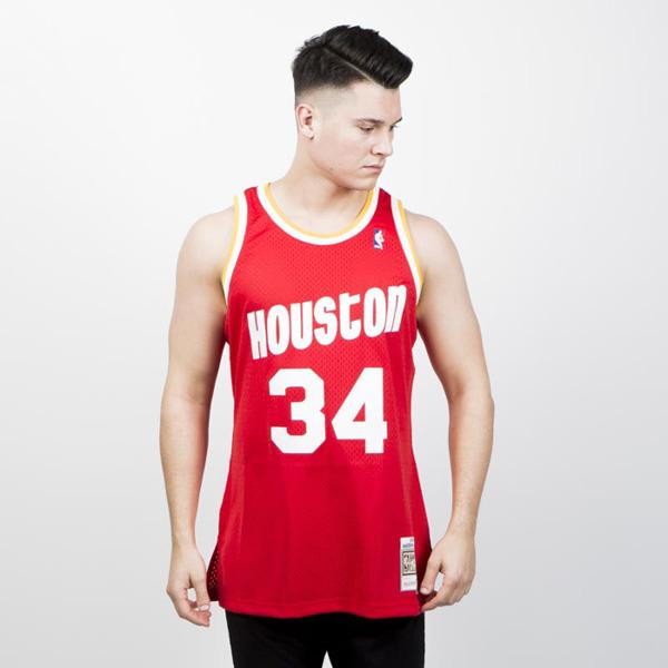 Mitchell   Ness Houston Rockets  34 Hakeem Olajuwon red white ... 6ac4993a4bf9