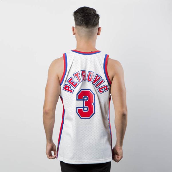 Mitchell   Ness New Jersey Nets  3 Drazen Petrovic white Swingman ... fcc190569